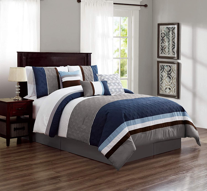 Amazon Com Luxlen 7 Piece Luxury Bedding Set California King Blue