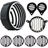 Yashinika Metal Headlight Tail Light Parking Light Indicator Grill Protector for Royal Enfield Classic 350 & 500 (Black and Chrome, Set of 8)