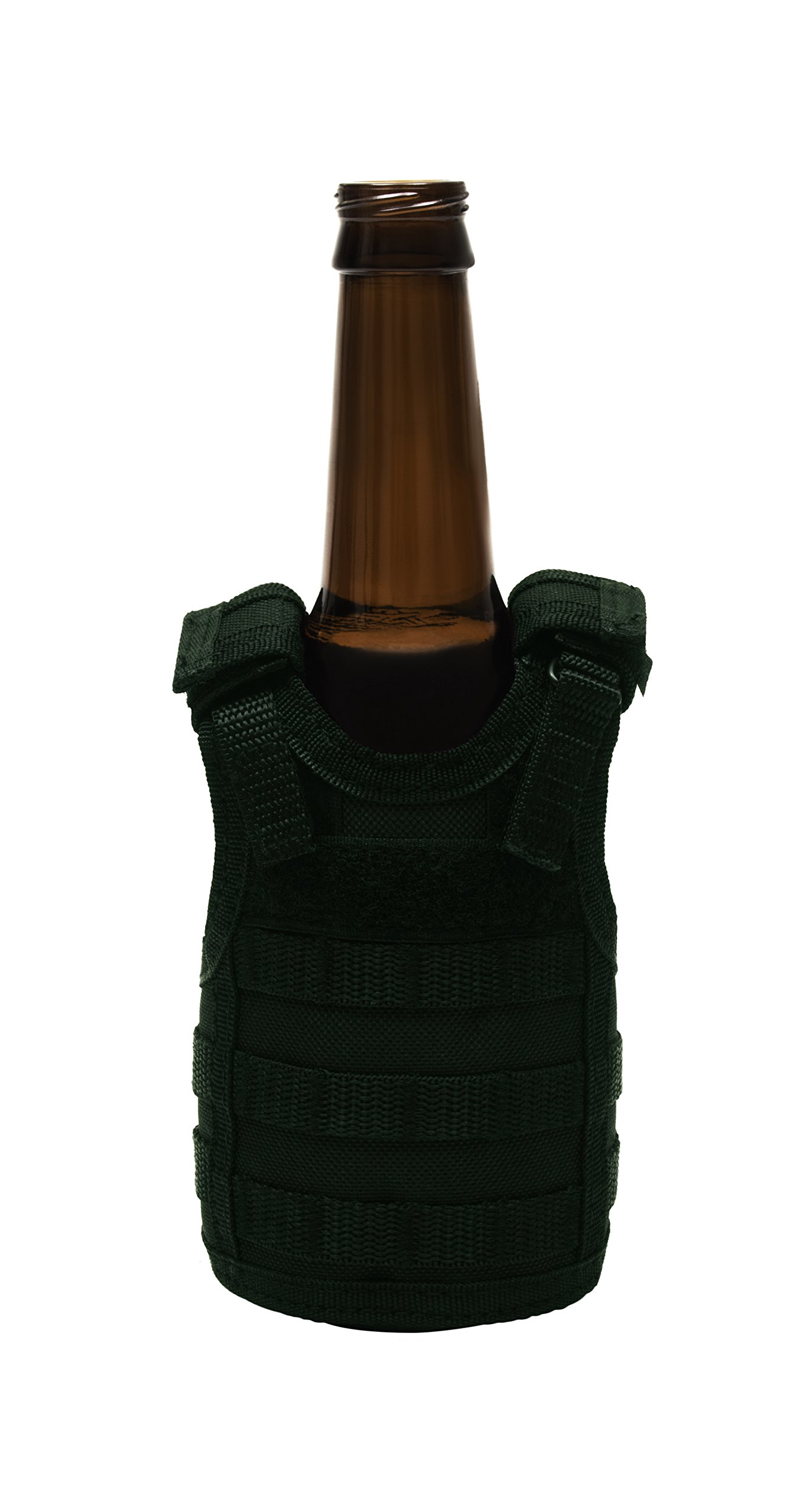 Frontier Tactical Gear Tactical Premium Beer Military Molle Mini Miniature Vests Beverage Cooler for 12oz or 16oz beverages cans AND bottles - adjustable shoulder straps - OD Green by Frontier Tactical Gear