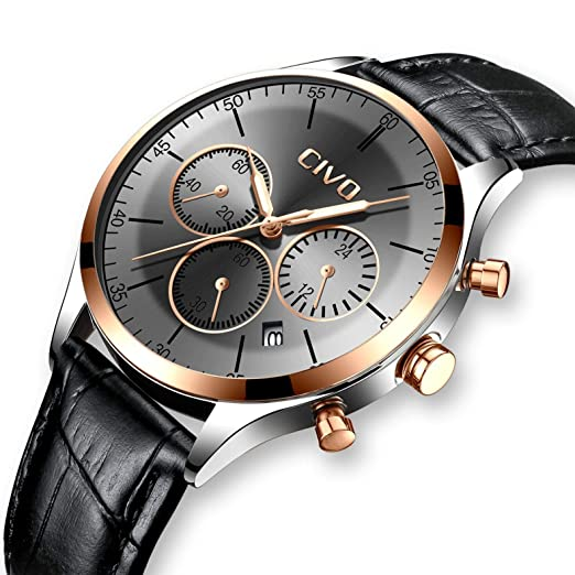 268c8a5d3b2 CIVO Mens Watches Black Chronograph Waterproof Multifunctional Wrist Watch  Date Calendar Stainless Steel Mesh Band Sports Fashion Gents Casual Luxury  Quartz ...