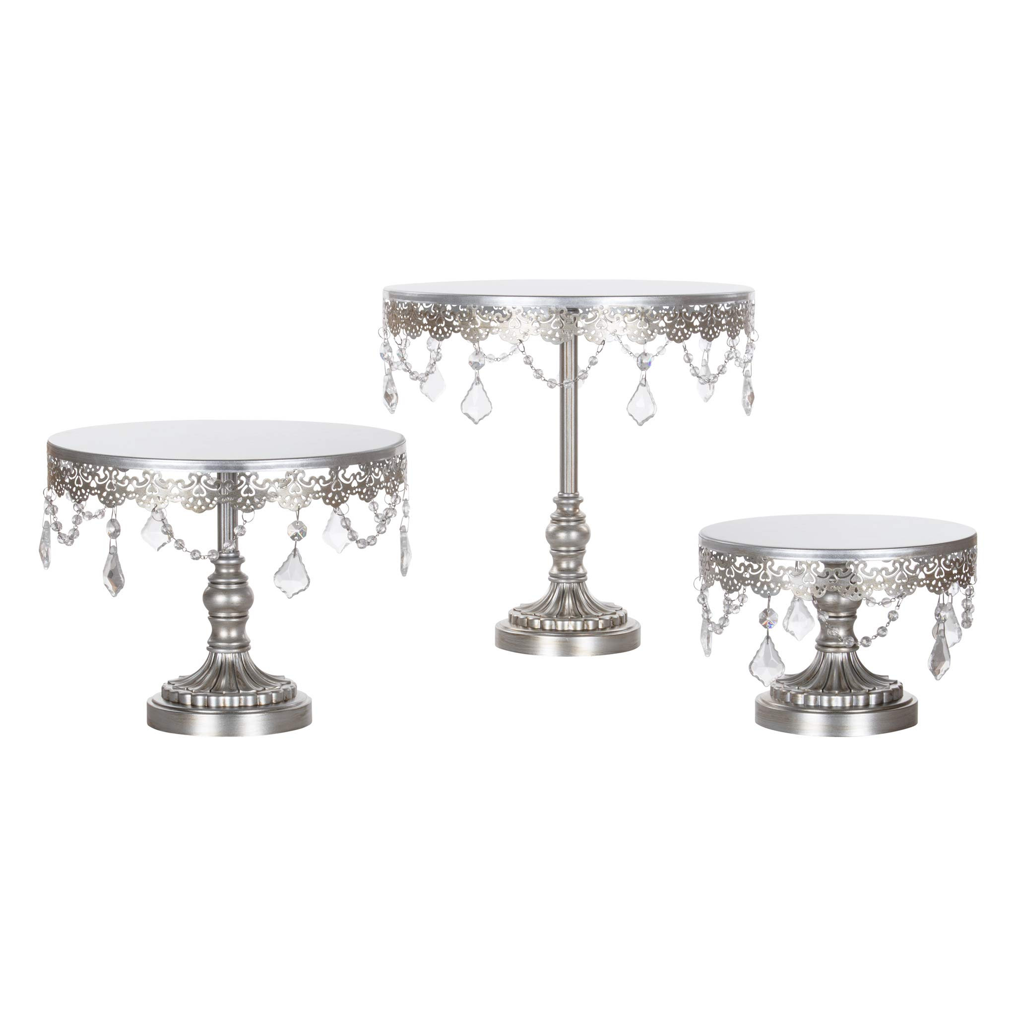 Sophia Cake Stand Set of 3, Round Metal Plate Dessert Cupcake Pedestal Wedding Party Display with Glass Crystals (Silver)