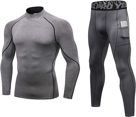 Conjunto térmico de ropa interior para hombre 2 piezas Set de Camisa y Pantalón: Amazon.es: Ropa y accesorios