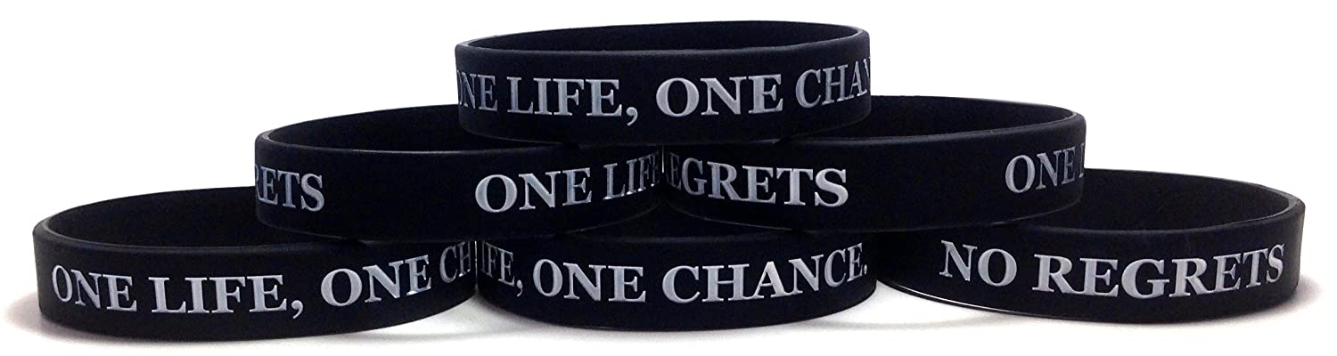 TheAwristocrat 6 Pack ONE Life ONE Chance. NO Regrets Inspirational Silicone Wristband Rubber Bracelet
