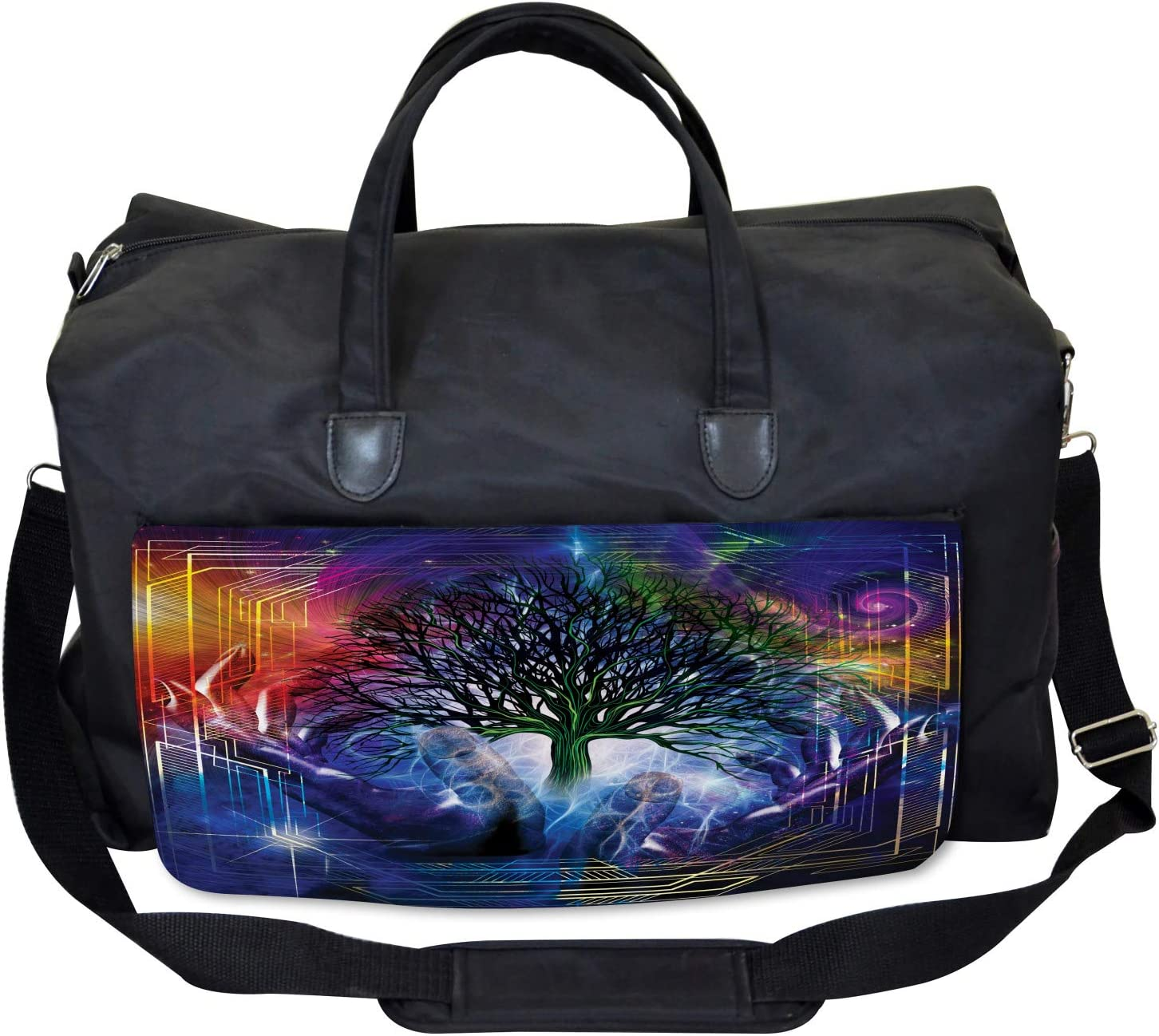Large Weekender Carry-on Ambesonne Nature Gym Bag Leafless Tree Hippie