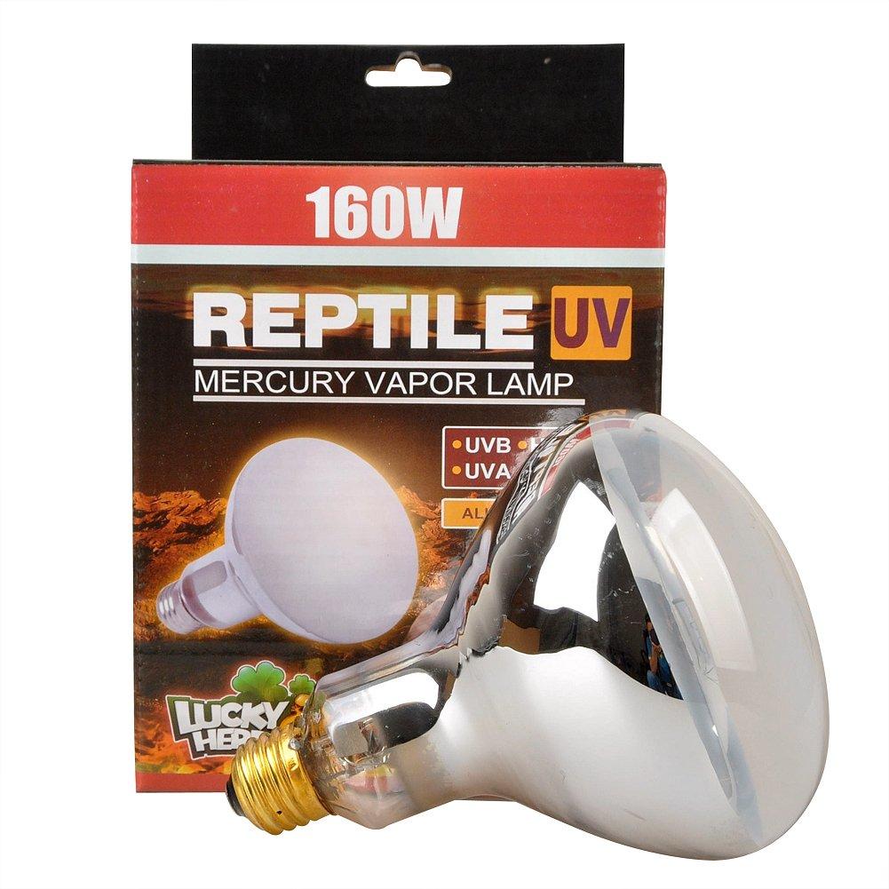 Reptile UVA UVB Mercury Vapor Bulb Lamp, E26 Screw Thread, 160 Watt (Clear) Jinxu