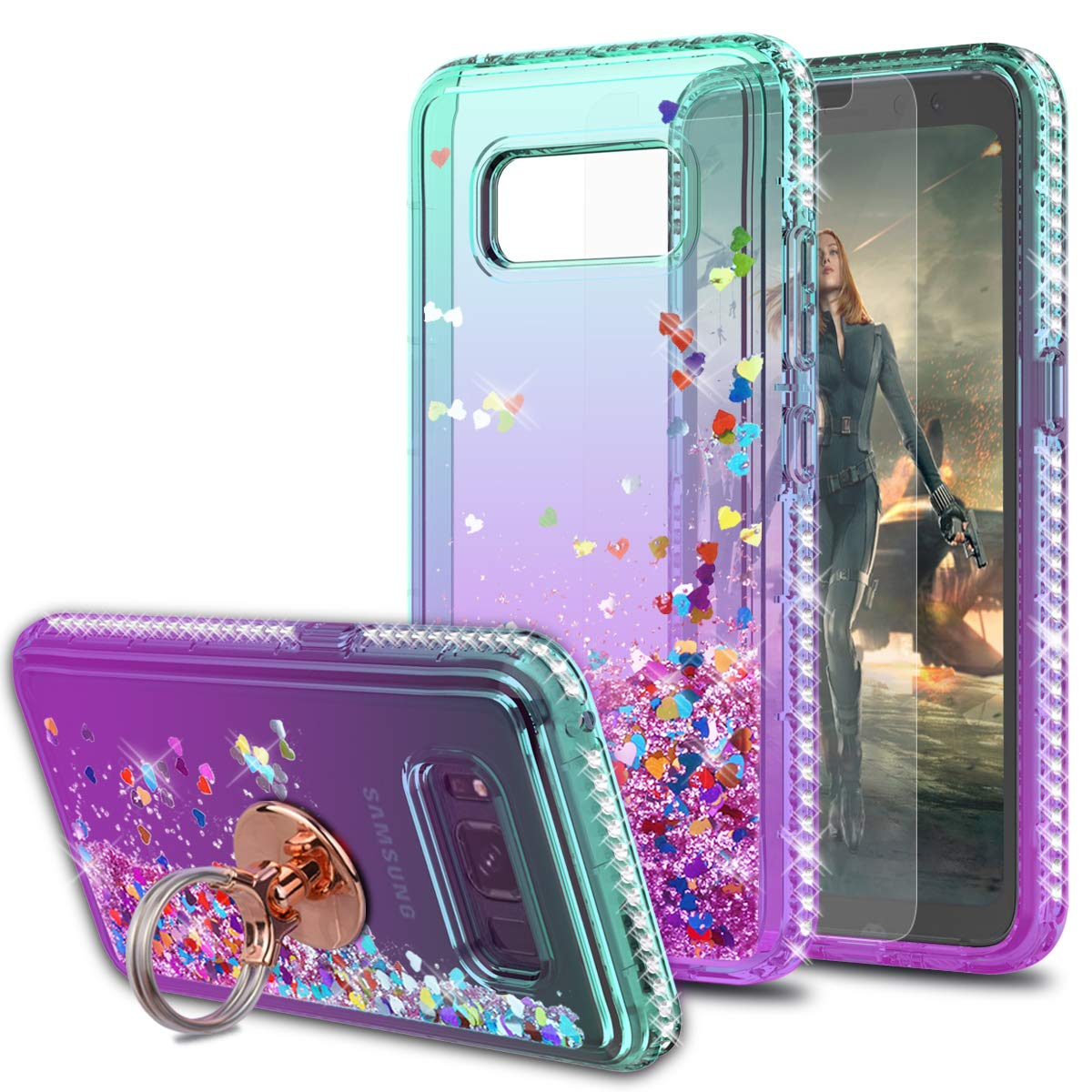 Galaxy S8 Active Case with HD Screen Protector with Ring Holder,KaiMai Glitter Moving Quicksand Clear Cute Shiny Girls Women Phone Case for Galaxy S8 Active-Aqua/Purple Ring by KaiMai