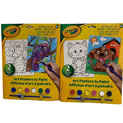 Crayola Paint Your Own Poster Set of Two Art Posters Textured Paper Paint Paint Brush Bundle Two Packs Geico Crocodile Cat Dog Let Little Ones Create Paintings to Display!: Toys & Games [5Bkhe0306868]