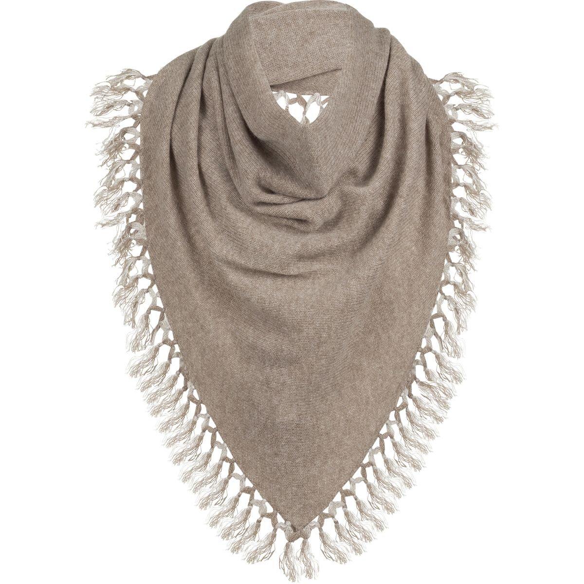 White + Warren Tassel Triangle Scarf - Women's Mocha/Sand, One Size