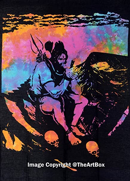 The Art Box Indian Lord Shiva Smoking Ganja Tapestry 100% Cotton 30x40 Inches Poster Size