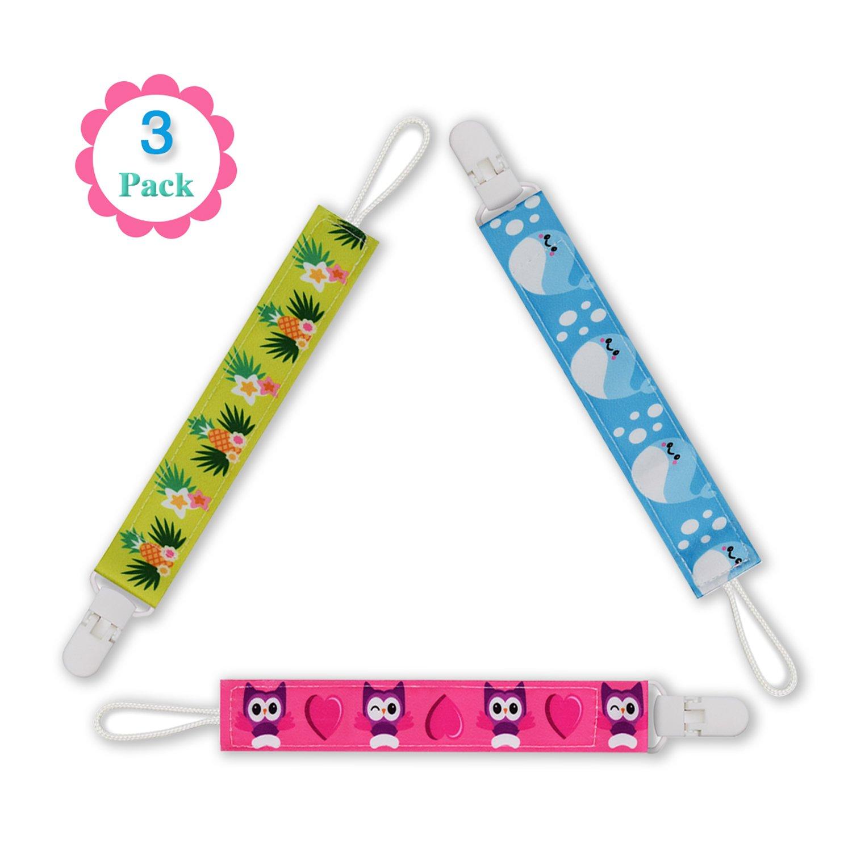 Clip per ciuccio - 3 Pack tettarella Holder Design moderno dentizione per Baby