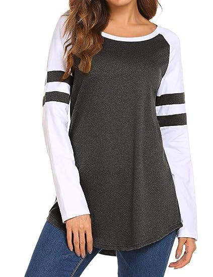 641cfcb1 Locryz Women Raglan Long Sleeve Baseball Tee Shirt Casual Crew Neck Striped  Tunic Tops (S