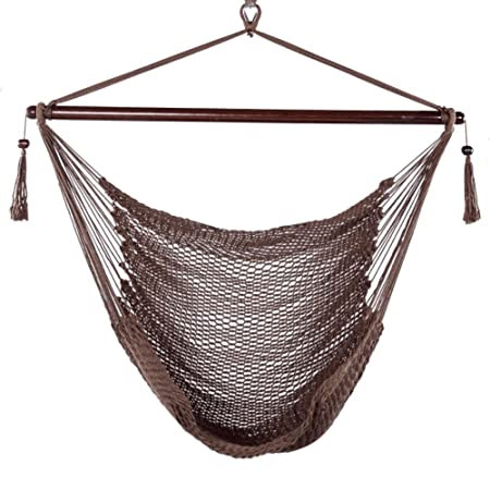 Blissun Hanging Hammock Chair, Swing Chair, 40-inch Wide Seat, Polyester Cotton Mocha