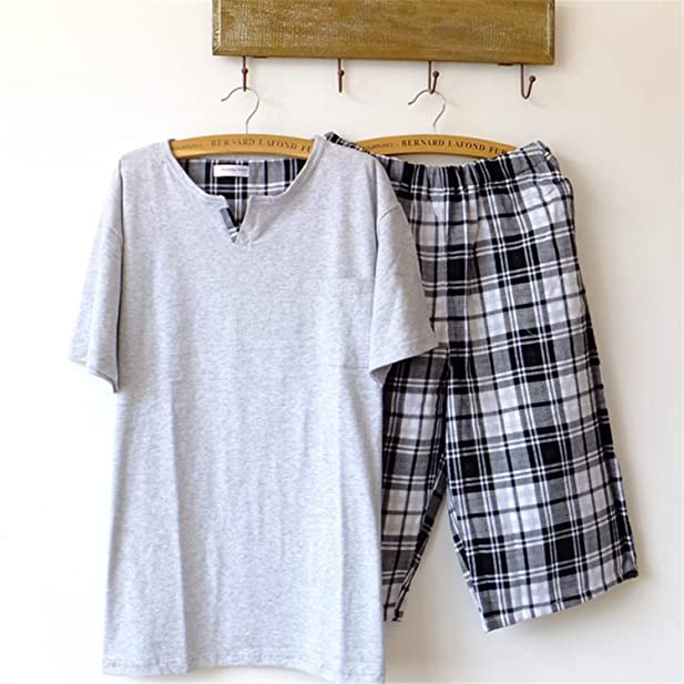 Michael Stevenson Pajamas Men Summer Short-Sleeve 5 Pants Knitted Sleepwear Gauze Pyjamas Men Lounge Pajama Set at Amazon Mens Clothing store: