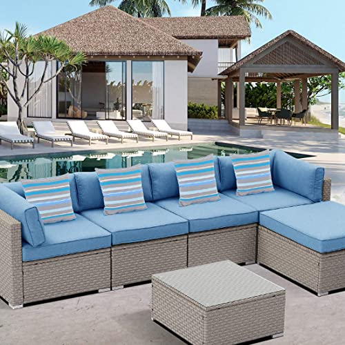 HOMPUS Outdoor Sectional Sofa 6-Piece All Weather Patio Handwoven Gray Wicker Furniture Set w Royal Blue Seat Cushion
