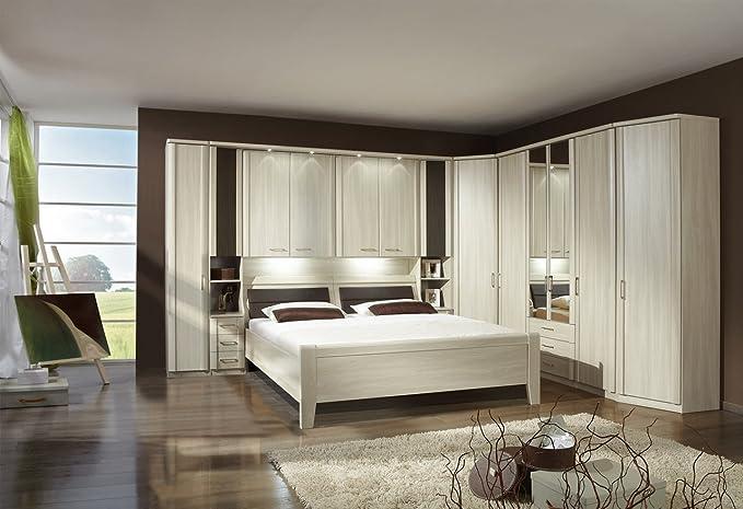 good uberbau schlafzimmer bett schrank #4: Schlafzimmer, Schlafzimmermöbel, Set, Komplettset, Schlafzimmereinrichtung,  Komplettangebot, Einrichtung, Überbau, Bettbrücke, Edel-Esche: Amazon.de:  Küche ...