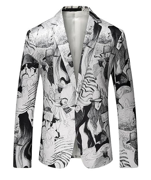 MOGU Chaqueta blanca casual estampada para hombre con un botón slim fit: Amazon.es: Ropa y accesorios