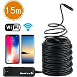 BlueFire Semi-rigid Flexible Wireless Endoscope IP67 Waterproof WiFi Borescope 2 MP HD Resolutions Inspection Camera Snake Camera for Android and iOS Smartphone, iPhone, Samsung, iPad, Tablet (49.2 FT)