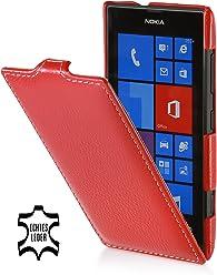 StilGut UltraSlim Case, housse en cuir véritable pour Nokia Lumia 520, Rouge