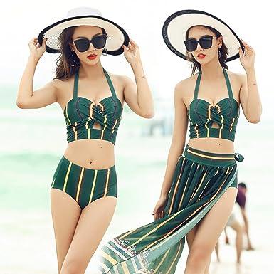 9de3828e4a Homebeast 3 Pieces Women's Ladies Swimsuit Bikini Split Sets Beach Swimwear  Bathing Suit (Green,