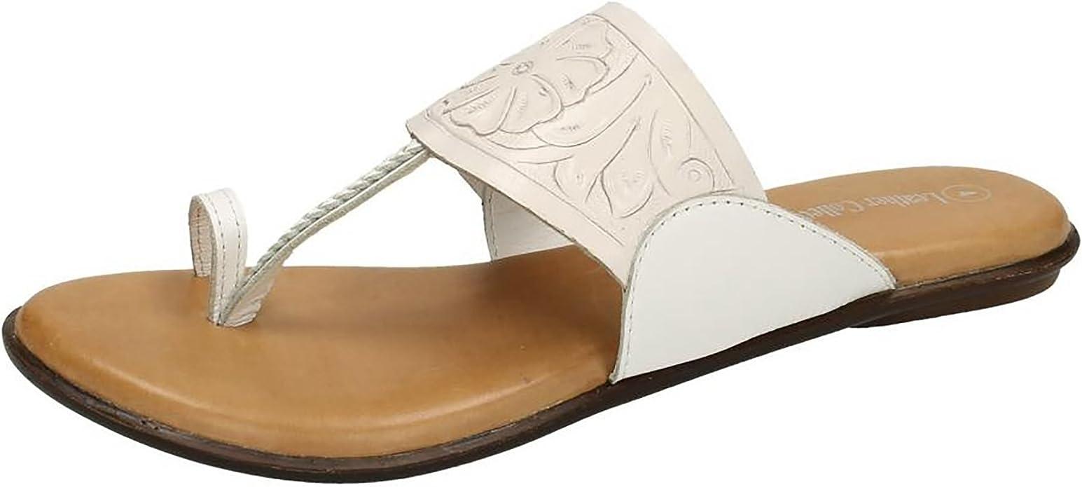 Damen Slipper Zehenschlaufe Sandalen von Leather Collection
