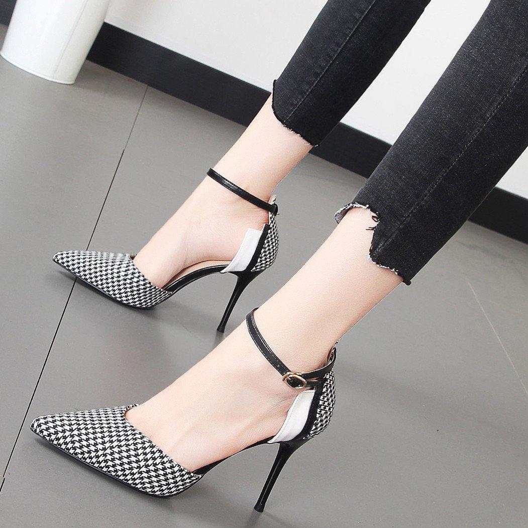 Xue Qiqi Fein mit high-heel Schuhe geschlitzten Snap grid Einfügen Schuhe farbige Spitze Frauen Schuhe flache Mund einzelne Schuhe Einfügen e6c765