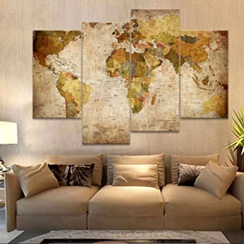 Amazon.com: OUL Canvas Wall Art Prints Vintage World Map Oil ...