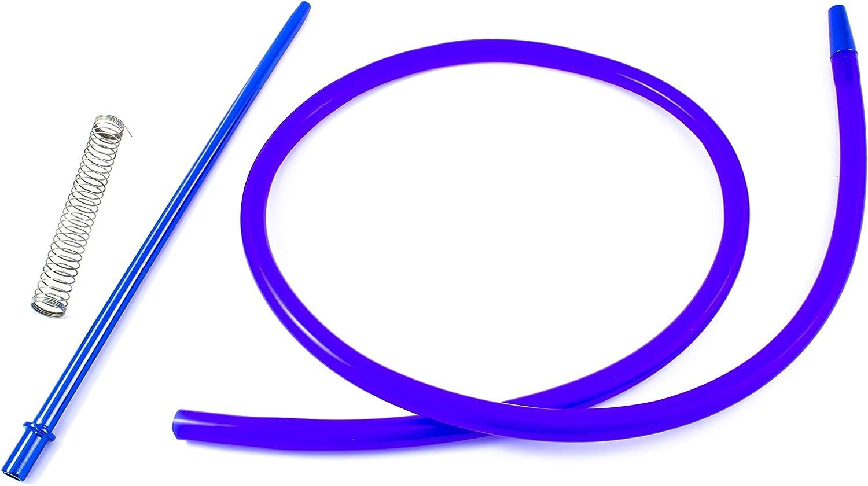 Manguera para cachimba shisha - Incluye muelle y boquilla de materiales premium con acabados excepcionales (Azul)