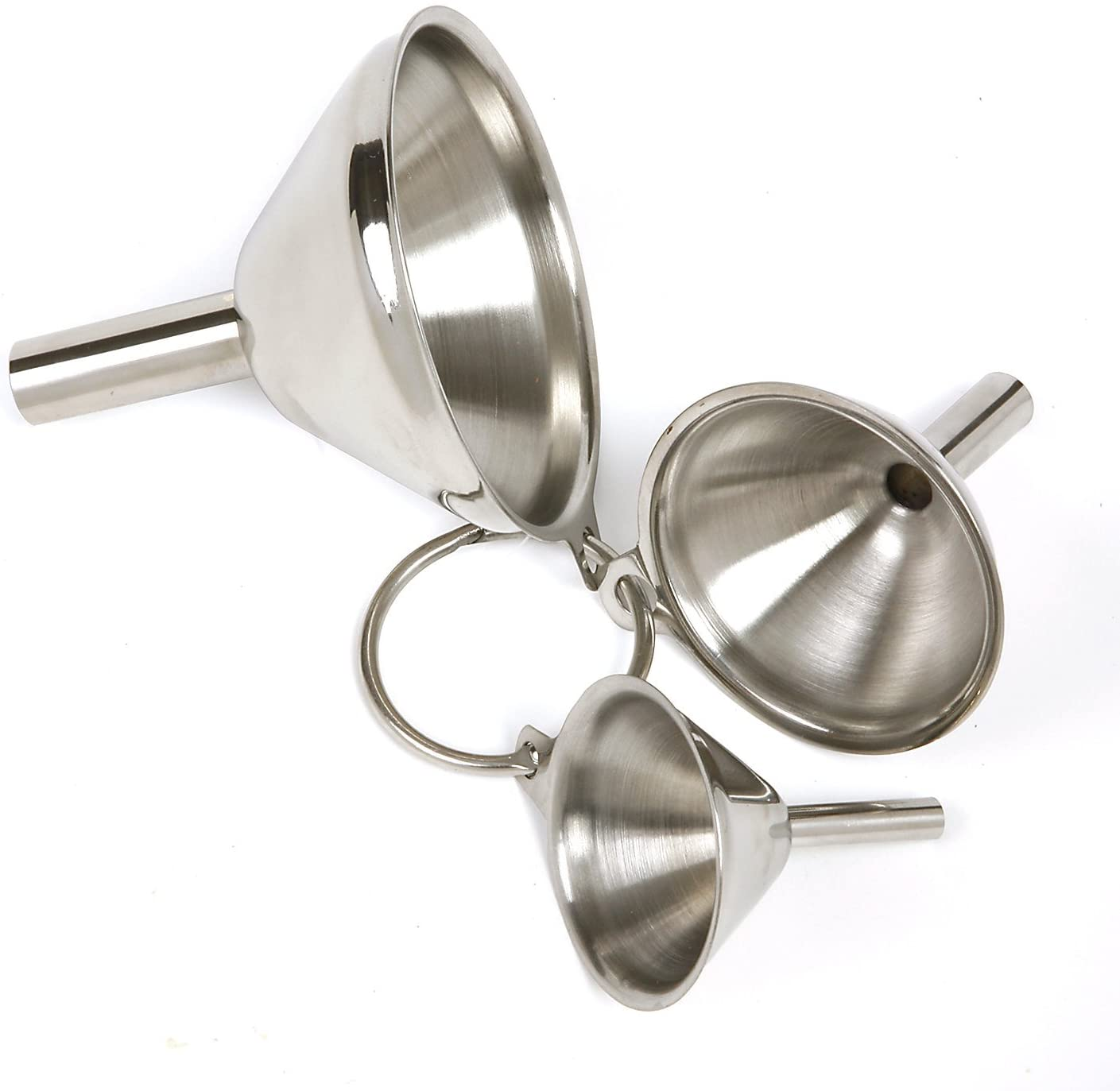 Norpro 18//10 Stainless Steel 3Pc Funnel Set Canning Preserving /& Small Bottles
