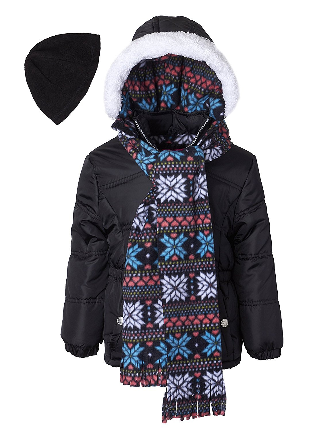 Pink Platinum Little Girls Hooded Winter Bubble Jacket Coat Matching Hat & Scarf, Black, 3T