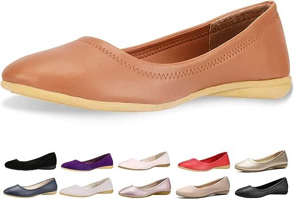 CINAK Flats Shoes Women- Slip-on Ballet Comfort Walking Classic Round Toe Shoes