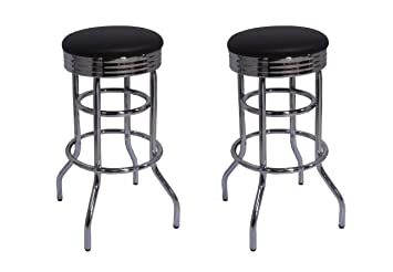 Superb Trinity Chrome Swivel Barstool 2 Pack Bar Stool Black Caraccident5 Cool Chair Designs And Ideas Caraccident5Info