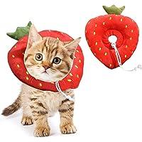 TWOONTO Collar de recuperación de gato ajustable, lindo cuello de fresa, conos suaves para mascotas, cirugía…