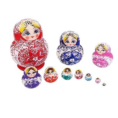 10pcs Muñecas de Matrioska Rusas Muchachas Pintadas Madera: Juguetes y juegos