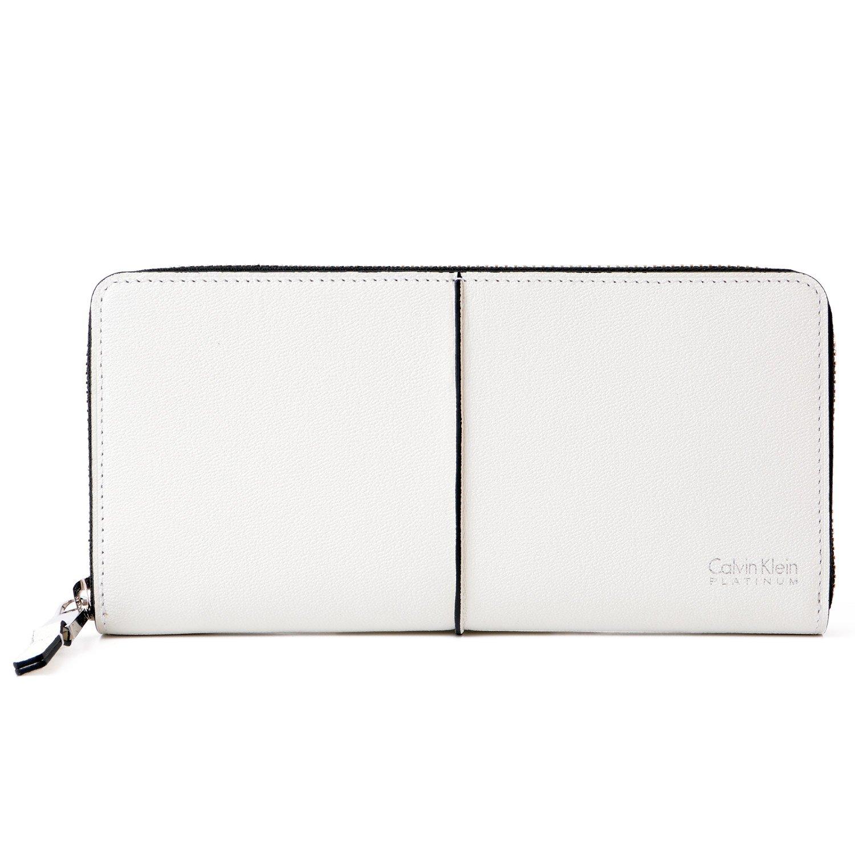 [名入れ可] カルバンクライン プラティナム Calvin Klein PLATINUM レザー ラウンドファスナー ウォレット 本革 長財布 B07CJY8K3Pホワイト 名入れなし