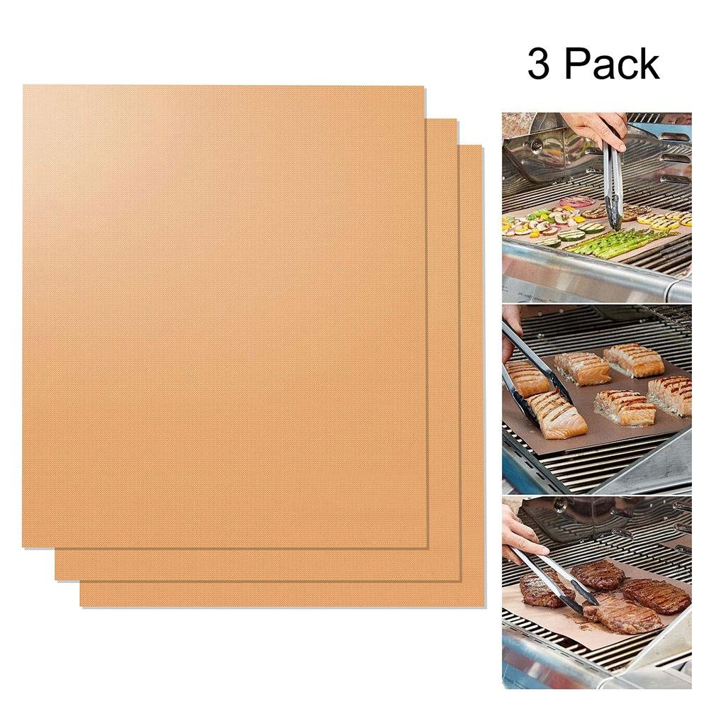 Copper Grill Mat Non Stick Mats for BBQ Grilling & Baking Easy to Clean and Reusable FDA Approved Non-Toxic -15.75 x 13 inch Umiwe