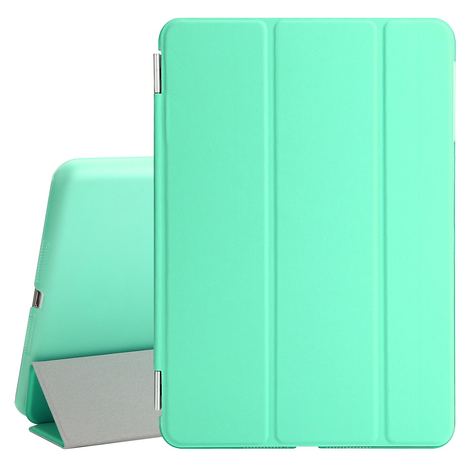 BESDATA Ultra Thin Magnetic Smart Cover (Wake/Sleep Function) & Clear Back Case for Apple iPad Mini 2 / Mini 3 (with Retina Display) + Screen Protector + Cleaning Cloth + Stylus (Mint Green)
