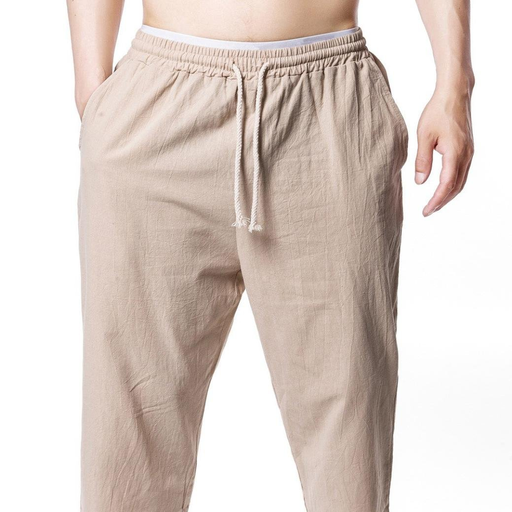 PASATO New!Men's Jogging Fitness Flax Casual Loose relaxatio Drawstring Pure Color Pant