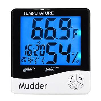 Mudder Digital Termómetro Higrómetro Termómetro Higrómetro Indicador Termómetro de Interior con el Despertador y Fecha,