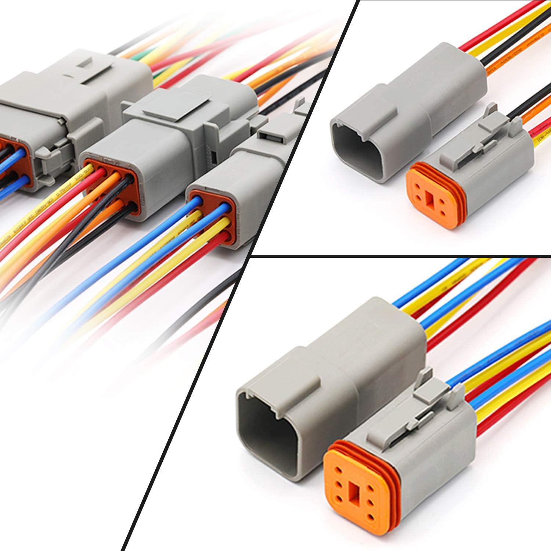 HSEAMALL Lot de 6 connecteurs DT 2 3 4 6 8 12 broches Gris scell/é M/âle et Femelle Auto /étanche Connecteur de fil /électrique Prise 22-16 AWG