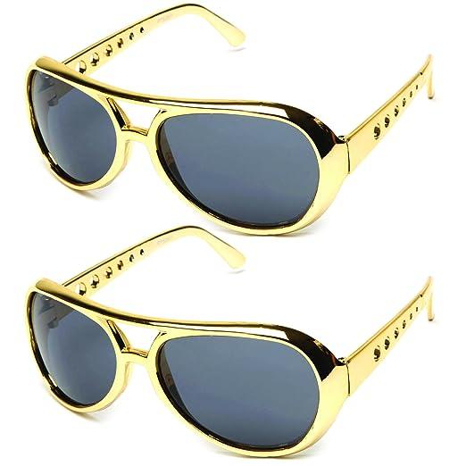 c6a30283c7 Elvis The King Presley Shiny Chrome Party Sunglasses 60 s Rock Star Classic Aviator  Sunglasses