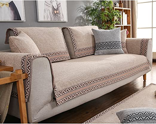 AMYSTOREDREAM Telar Tela Protector para sofás 3 seaters,Algodón y Lino sofá Antideslizante Toalla Tapa Amortiguador Ligero Mantas para Sala de Estar -B 90x180cm(35x71inch): Amazon.es: Hogar