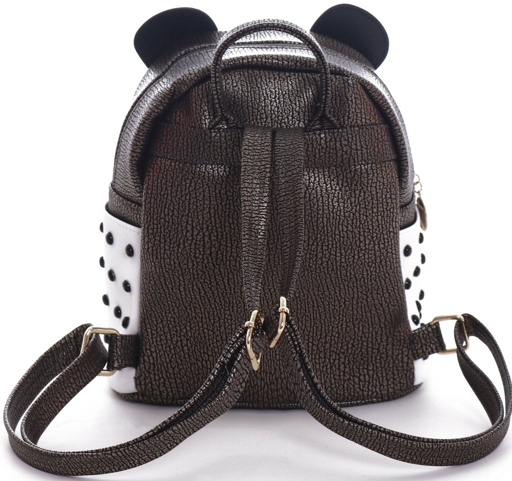 H&N Fashion PU Rivet Bronze Mini Casual Style Panda Backpack/ Shoulder/ Book Bag by H&N (Image #5)
