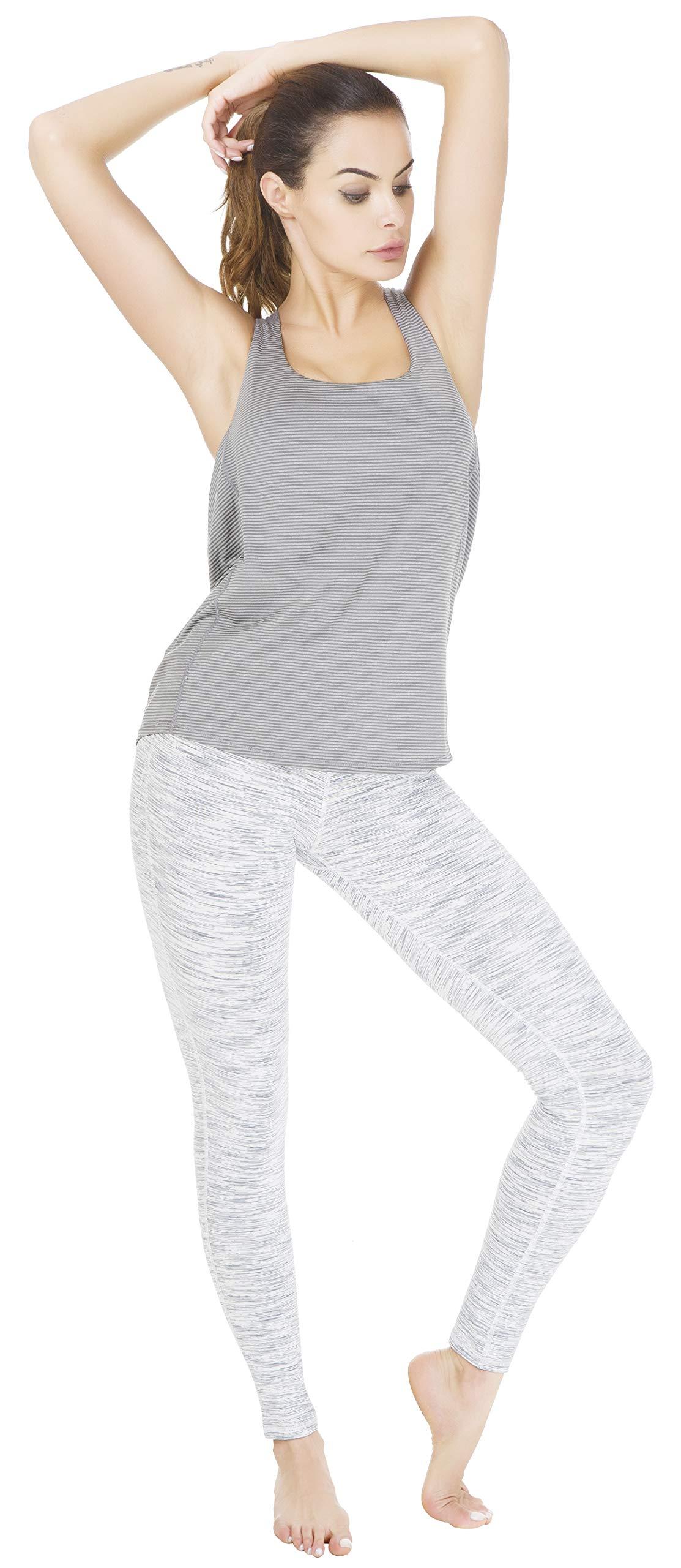 059d101988c7d Queenie Ke Women Power Flex Yoga Pants Workout Running Leggings Size S  Color White Grey Space Dye Long