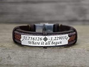 Coordinate Bracelets for Men, Custom Leather Wristband Him, Where it all began Engraved on Stainless Steel Plate