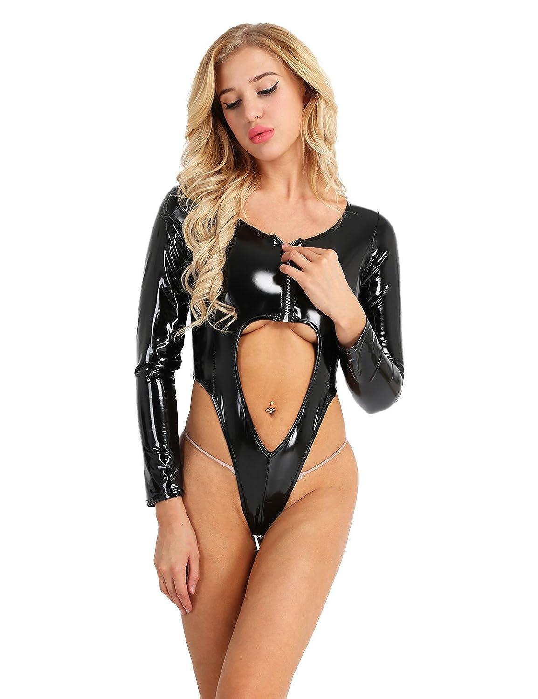 0ea35ec30c Amazon.com  Freebily Women Lingerie Wet Look PVC Leather Front Zipper High  Cut Thong Leotard Bodysuit  Clothing