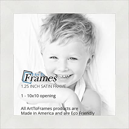 Amazon.com - ArtToFrames 10x10 inch Satin White Frame Picture Frame ...