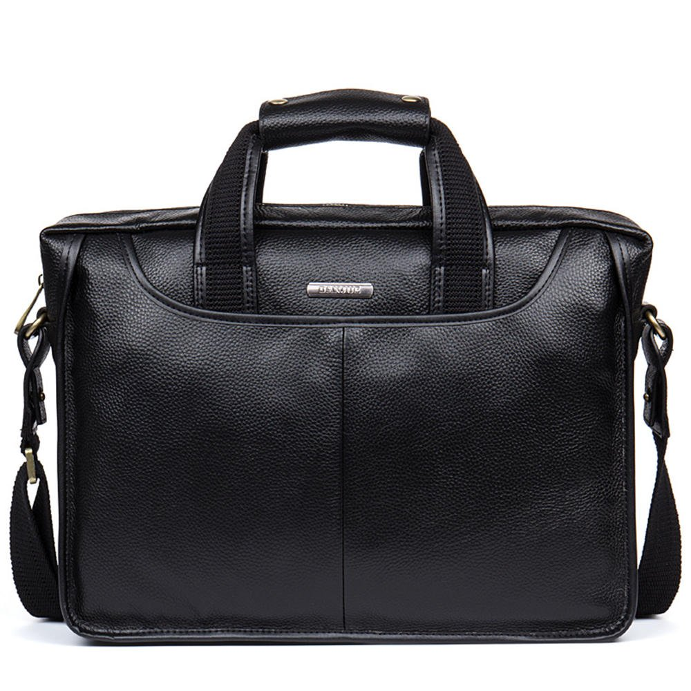 DANJUE first layer cowhide laptop briefcase business mens bag European and American fashion mens leather bag can be slanted shoulder D179-5 black