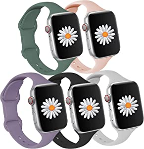 Compatible with Apple Watch Bands 44mm 42mm for Women Men,Slim Silicone Sports Wristband,Waterproof Replacement Strap for iWatch Band 44mm 42mm Compatible for Apple Watch SE Series 6 5 4 3 2 1