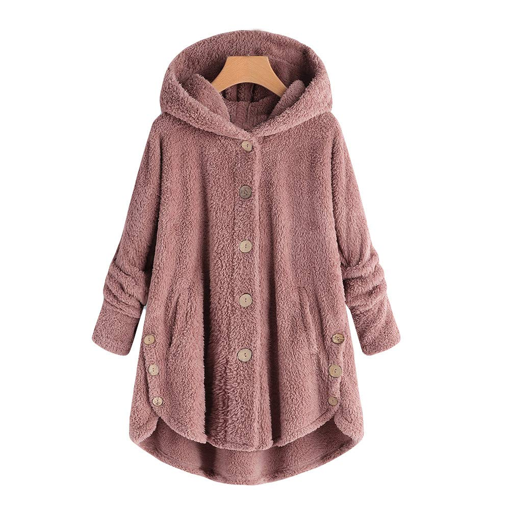 TADAMI Women Button Coat Fluffy Tail Tops Hooded Pullover Loose Sweater Blouse Pink