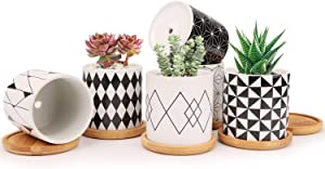 Ufrount 3 Inches Ceramic Planter Pot with Drainage Holes, Succulent Planter Pots Planting Pot Flower Pots for Mini Plant Perfect for Garden, Kitchen, Windowsill - Set of 6
